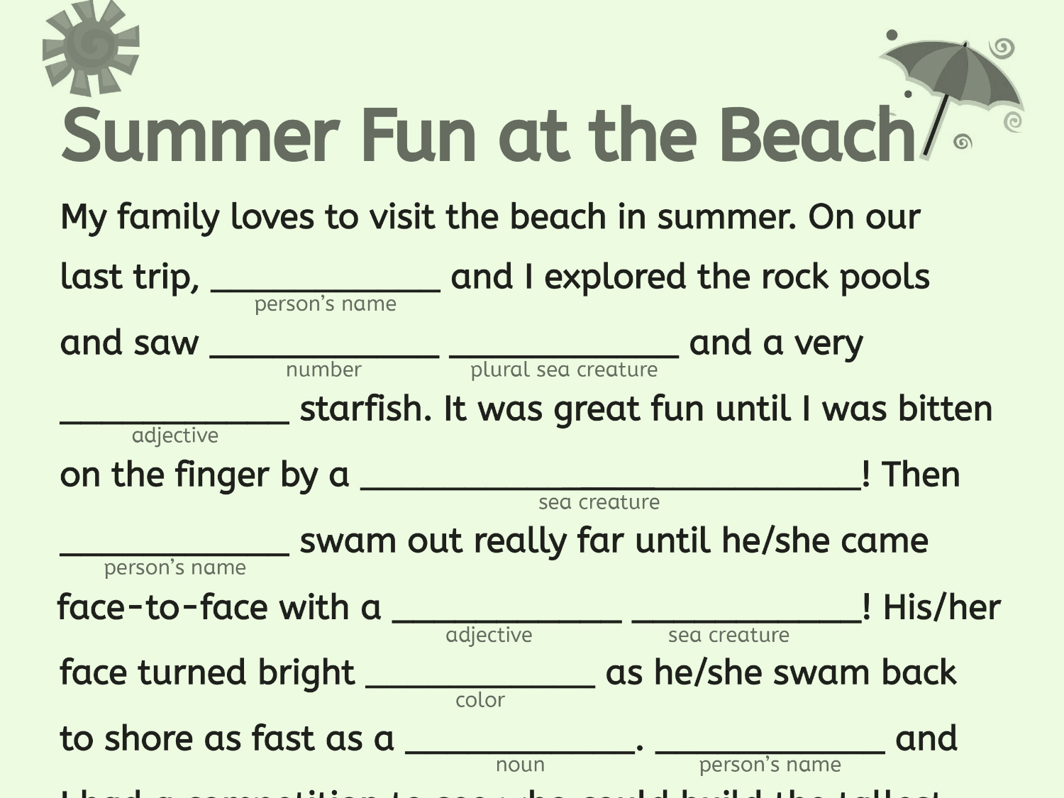 graphic about Printable Mad Libs for Adults Pdf referred to as A Beach front Working day Term Fill-Inside of Worksheets Printables