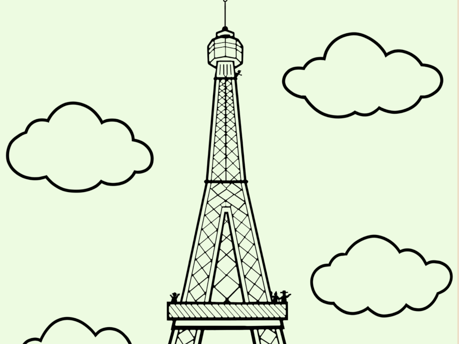 image regarding Printable Pictures of the Eiffel Tower called Coloration Within the Eiffel Tower Worksheets Printables
