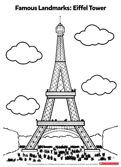 photo about Eiffel Tower Printable named Shade Within just the Eiffel Tower Worksheets Printables