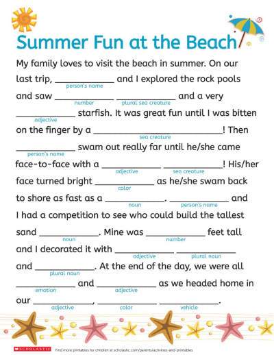 image regarding Printable Mad Libs Pdf identified as A Beach front Working day Term Fill-Inside Worksheets Printables