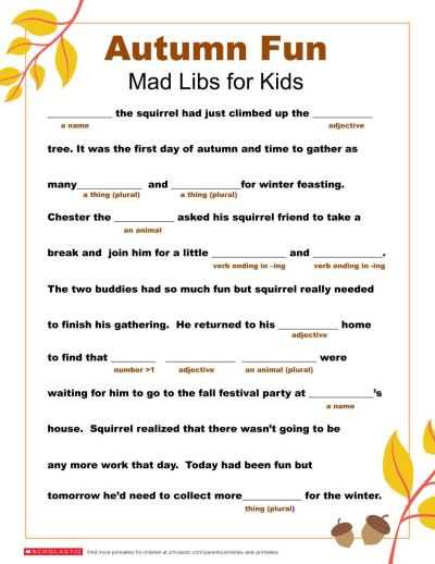 Madlibs Printable Diary Of A Wimpy Kid