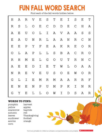image regarding Fall Word Search Printable titled Autumn Phrase Seem Worksheets Printables Scholastic