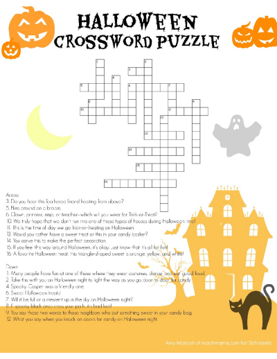 photograph regarding Halloween Word Search Puzzle Printable named Halloween Crossword Worksheets Printables Scholastic