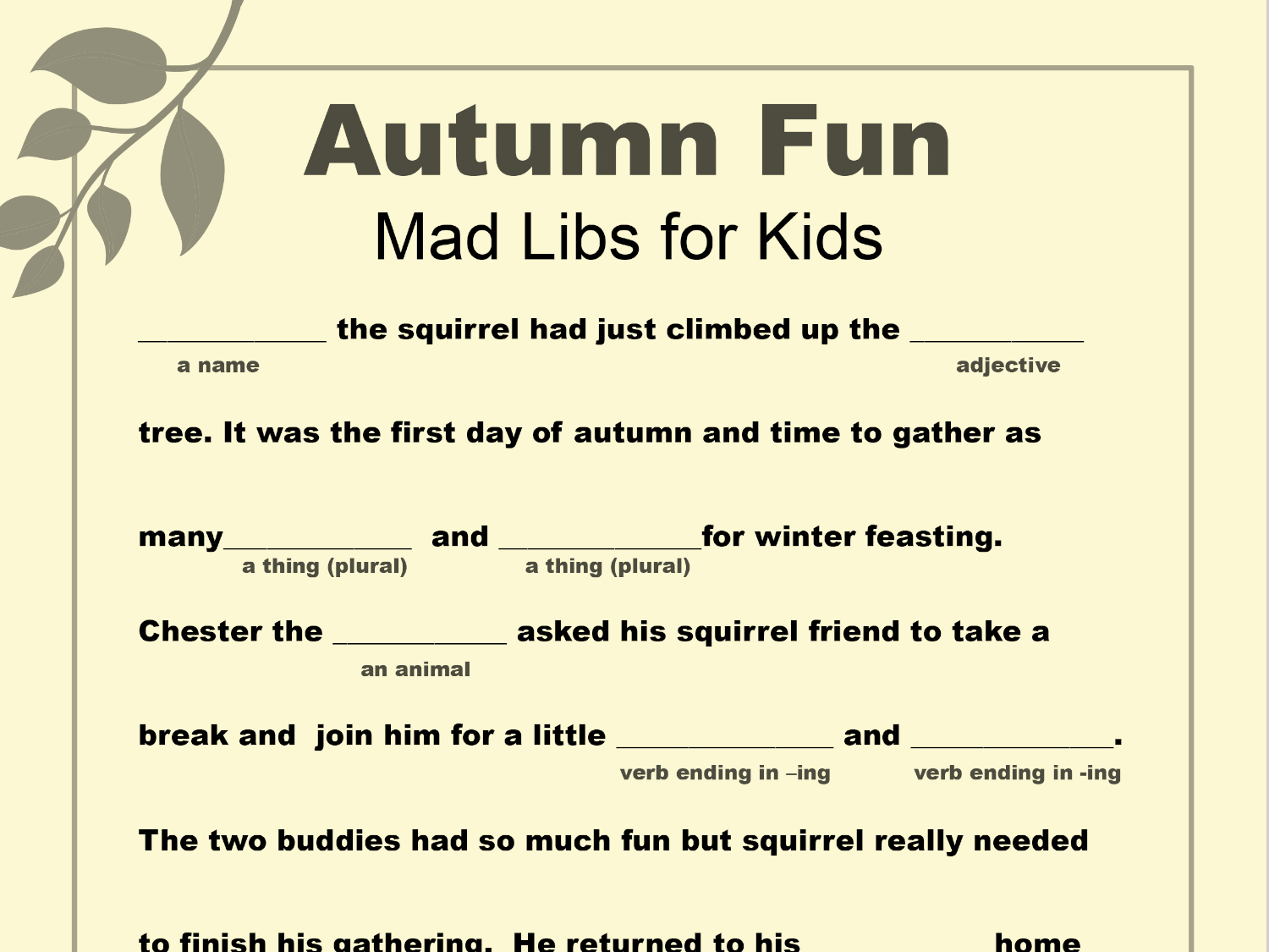 Worksheets Mad Libs Worksheets mad libs printable for fall worksheets printables scholastic parents