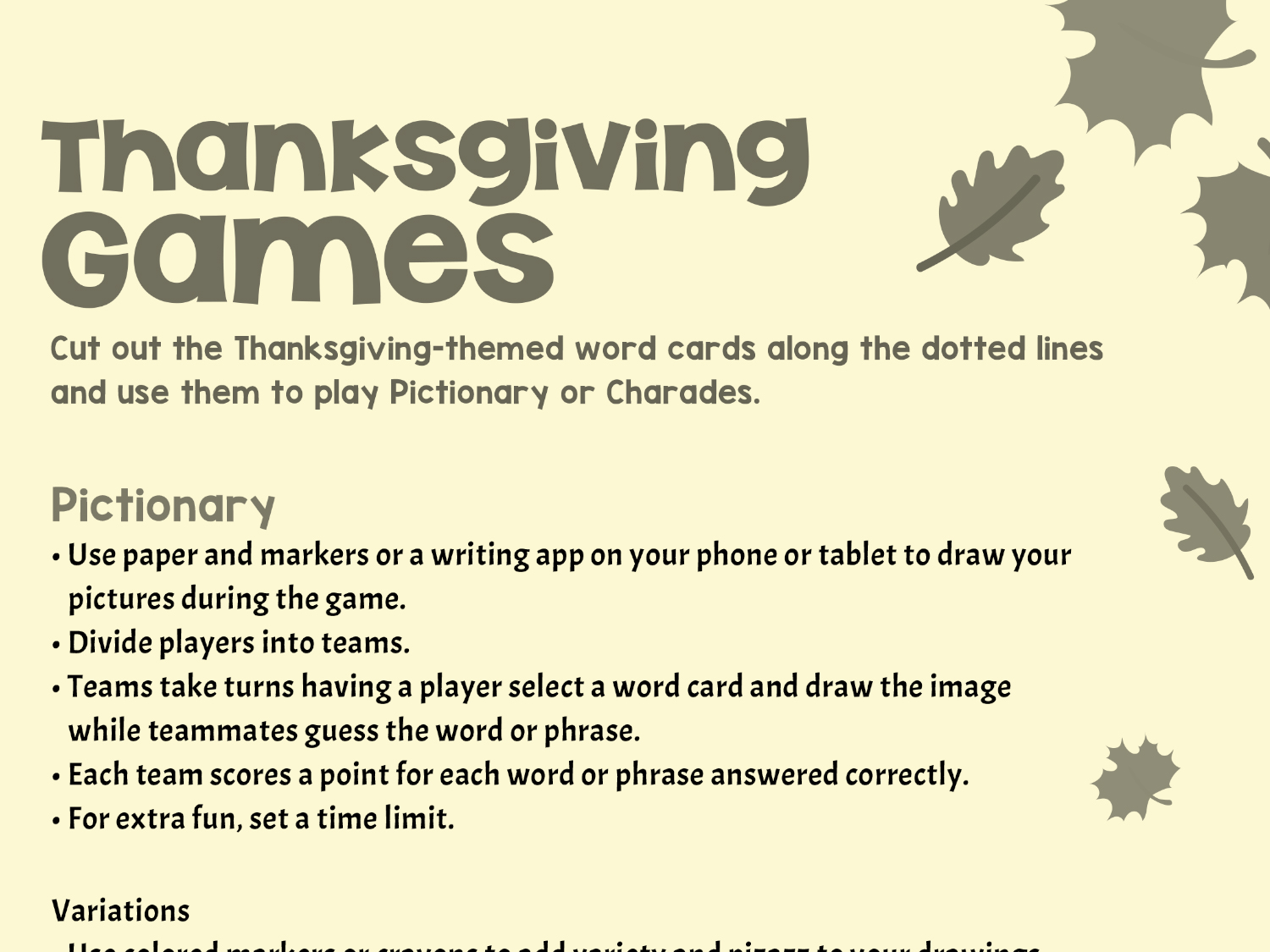 graphic regarding Printable Family Games referred to as Thanksgiving-Influenced Online games Worksheets Printables