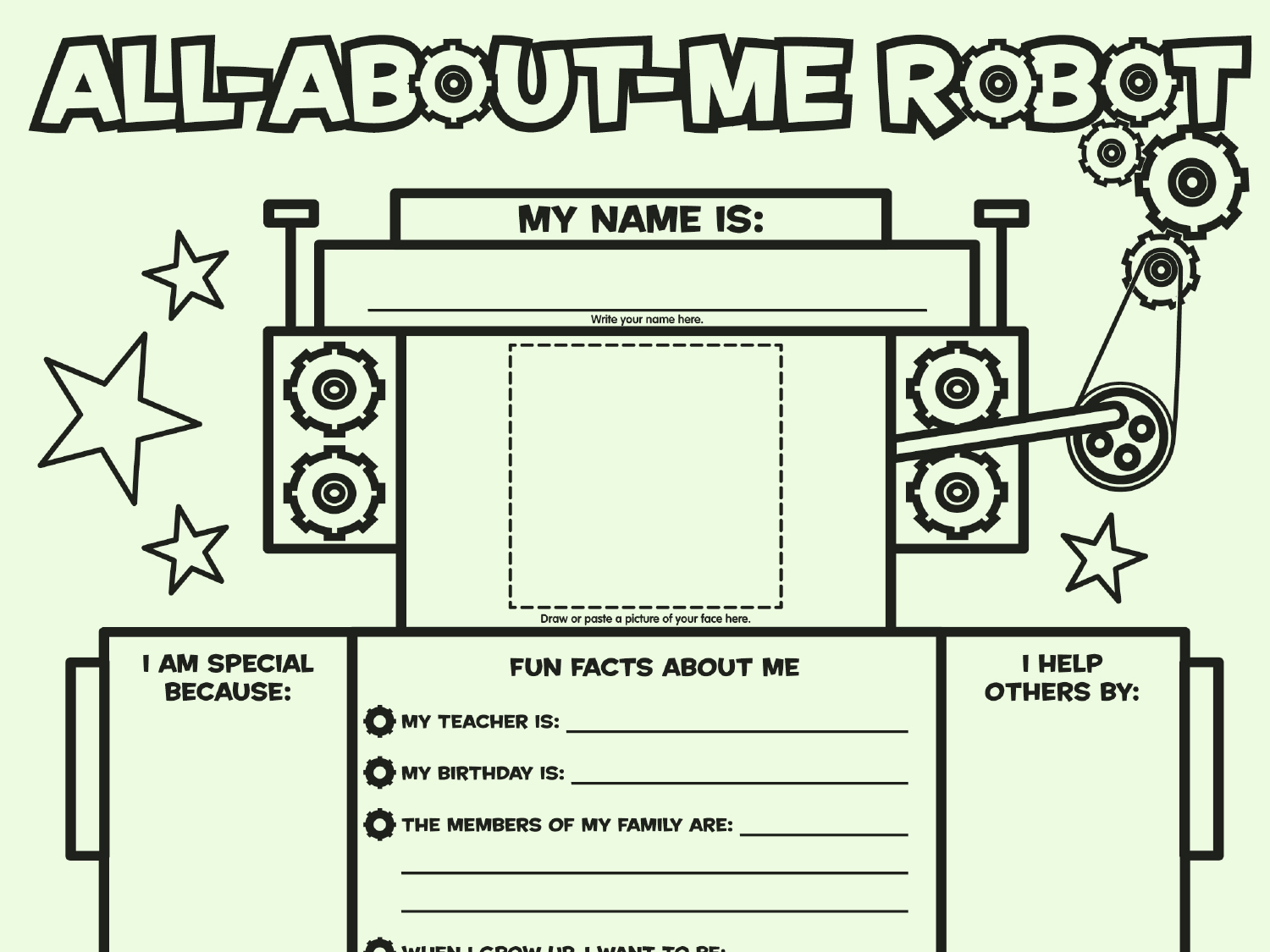 photograph relating to All About Me Printable Worksheets called All More than Me Robotic: Fill-inside Poster Worksheets Printables