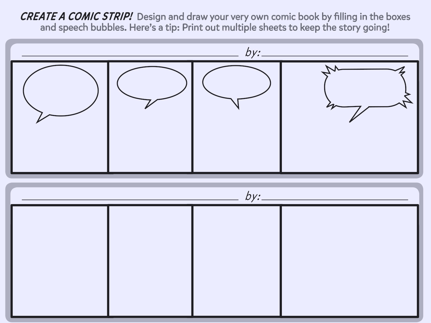 Create a comic strip printable template worksheets for Comic strip template maker