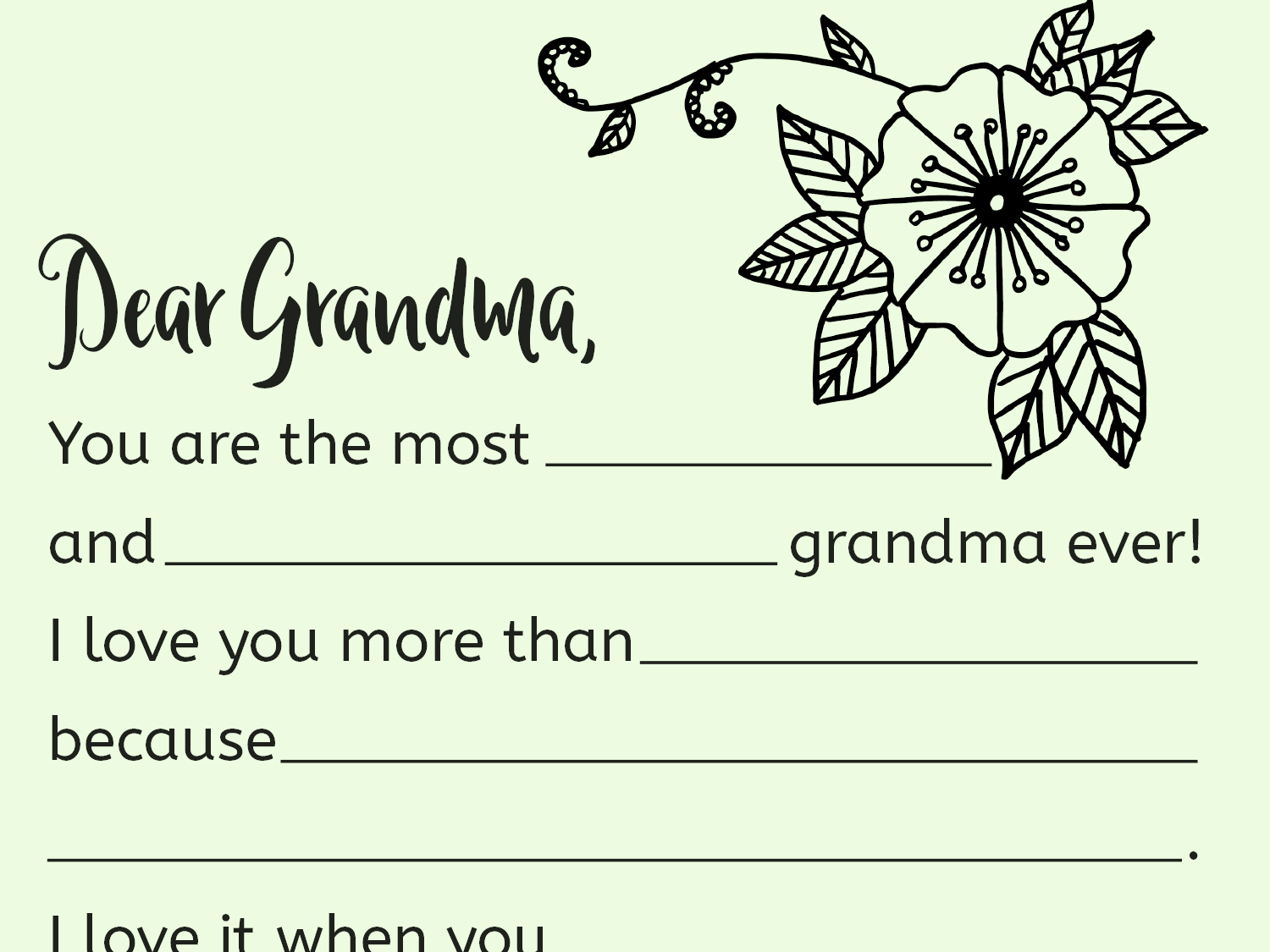 image relating to I Love You Because Printable titled A Printable Fill-inside Letter for Grandma Worksheets