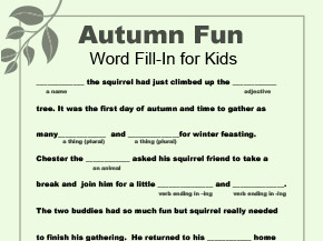 graphic regarding Printable Mad Libs for Adults Pdf titled Term Fill-Inside Printable for Drop Worksheets Printables