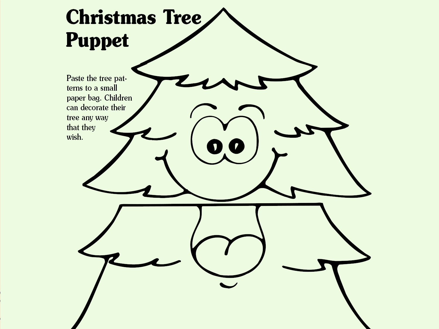 photograph regarding Christmas Tree Printable named Xmas Tree Puppet Worksheets Printables Scholastic