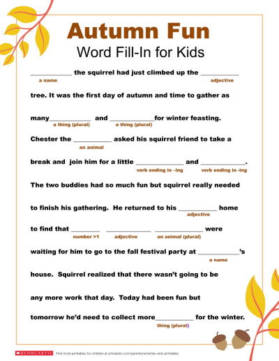 Word Fill In Printable For Fall Worksheets Printables