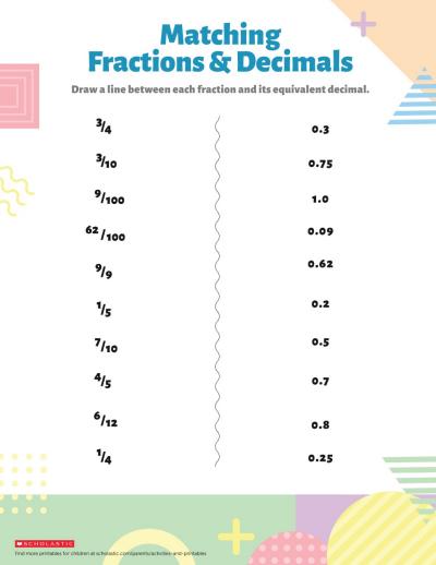 understanding fractions  decimals  worksheets  printables  understanding fractions  decimals printable