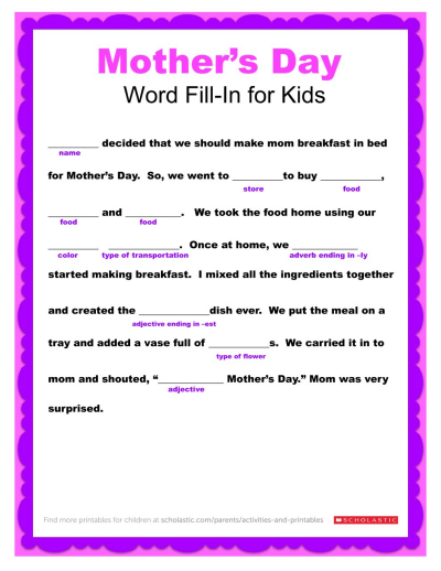 photograph about Free Printable Mother's Day Games for Adults identify Moms Working day Term Fill-In just Printable Worksheets