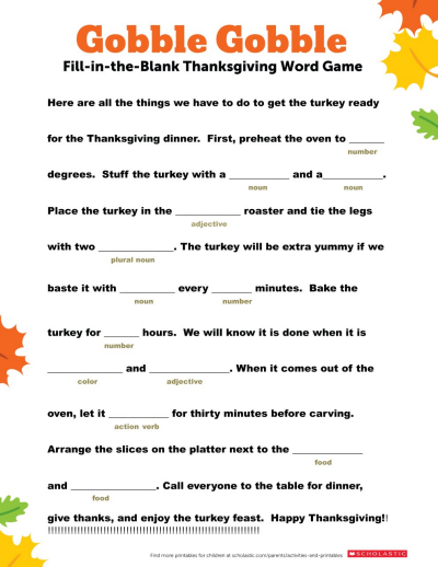 picture relating to Word Game Printable named Thanksgiving Term Recreation Worksheets Printables