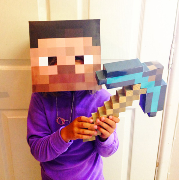 This is a photo of Minecraft Masks Printable intended for medieval minecraft party