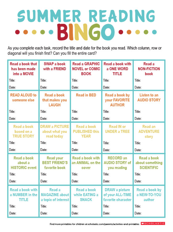 photo regarding Musical Bingo Cards Printable identify Retain the services of Ebook Bingo in the direction of Stimulate Summer months Studying Scholastic Dad and mom