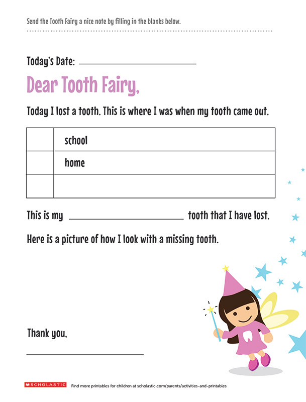 picture relating to Tooth Fairy Printable Letter called Exciting Textbooks Regarding the Teeth Fairy Scholastic Mom and dad