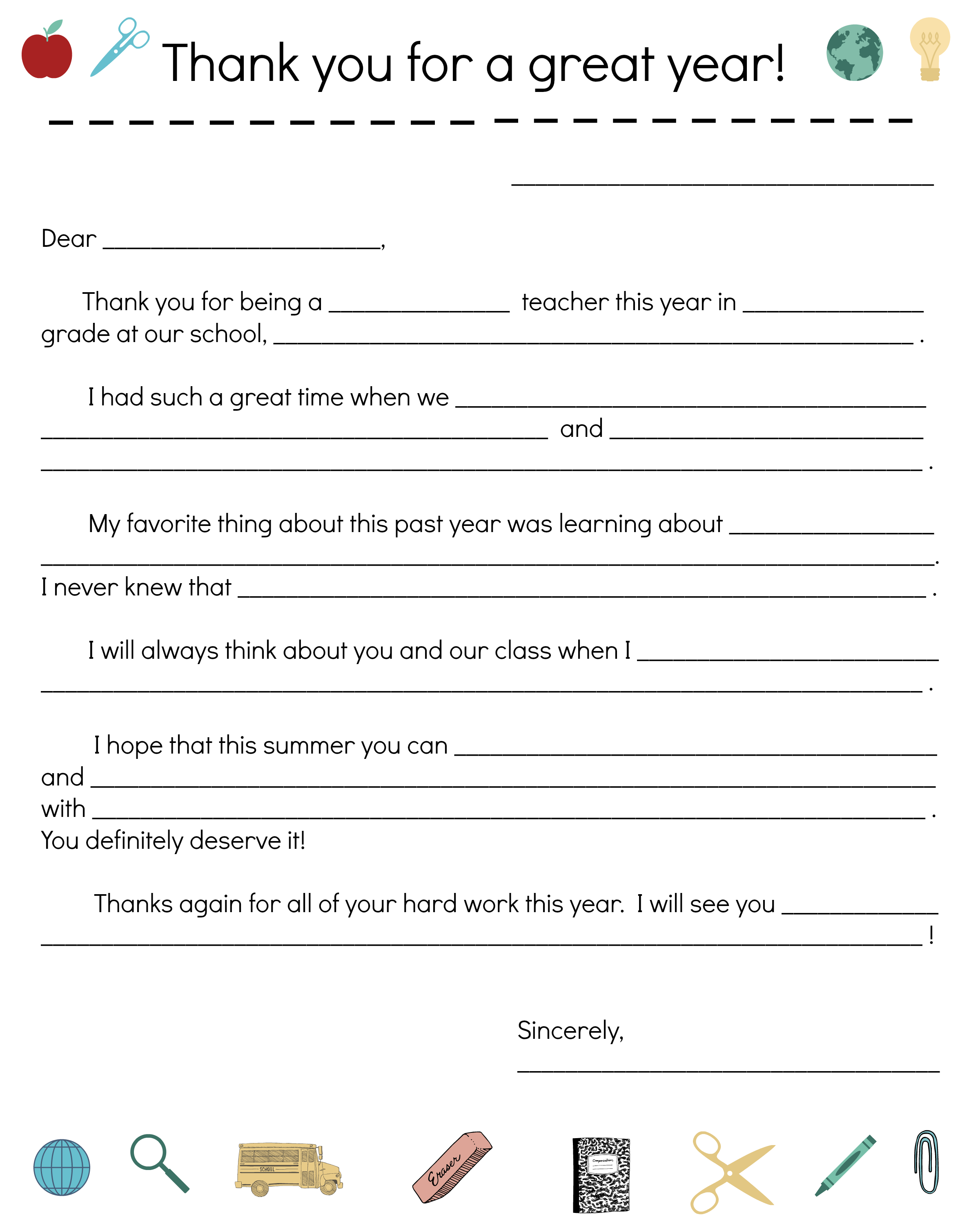 say thanks to teachers with a fill in note from your child scholastic parents