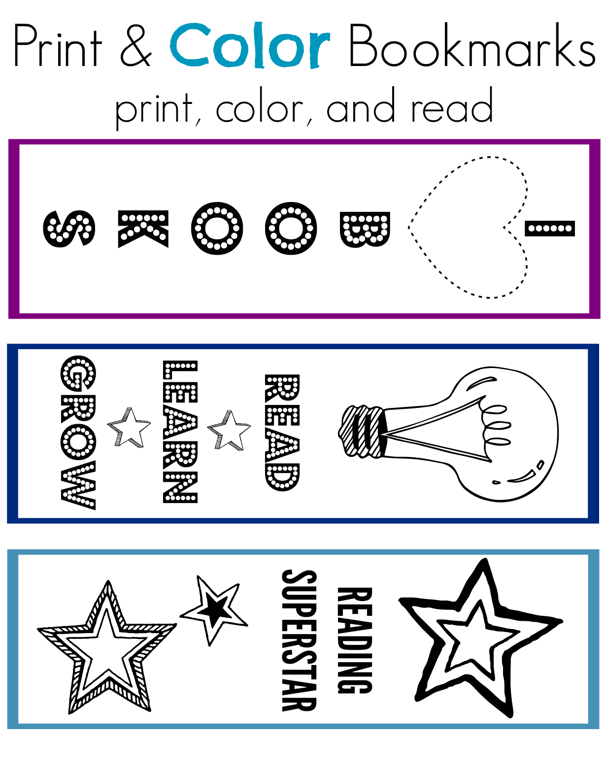 National Book Month Print Color Bookmarks