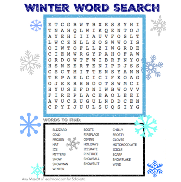 Declarative image within winter word search printable free