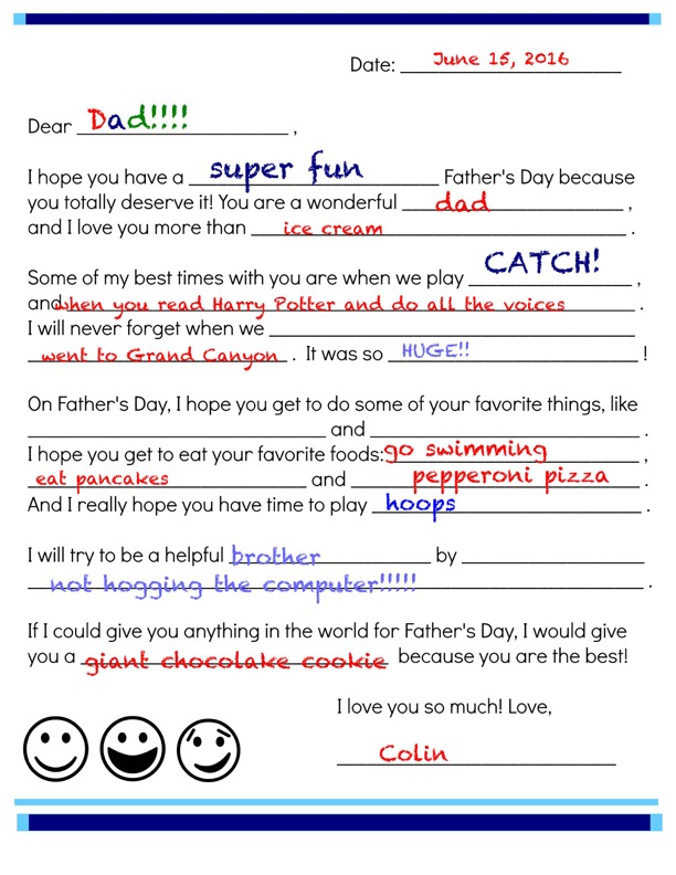 image regarding The Father's Love Letter Printable referred to as Fathers Working day Fill-In just Be aware Printable Scholastic Mothers and fathers
