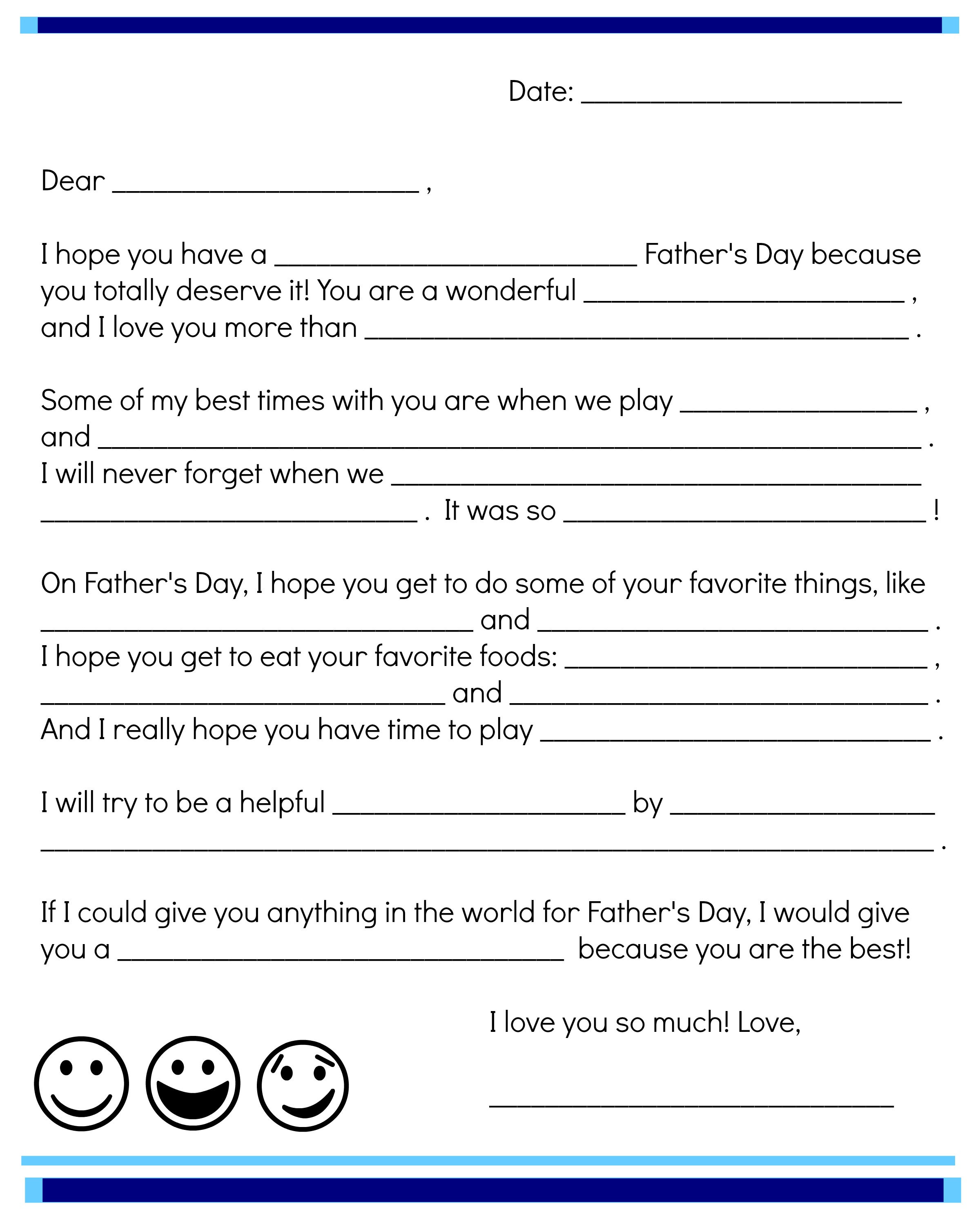 photograph relating to The Father's Love Letter Printable named Fathers Working day Fill-Within Notice Printable Scholastic Mother and father