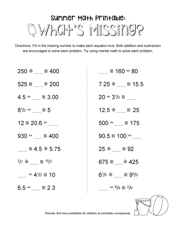Summer Math Printable for Grades 4-8: What\'s Missing? | Scholastic ...