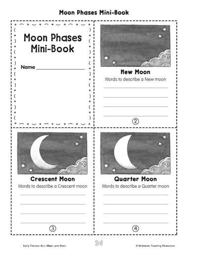 photograph regarding Moon Phases Printable named Minibook: Moon Stages Worksheets Printables Scholastic