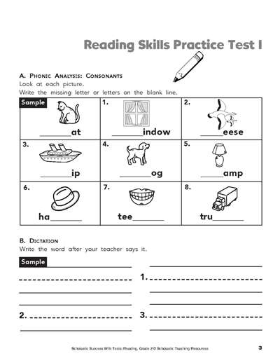 reading skills practice test 1 worksheets printables scholastic parents. Black Bedroom Furniture Sets. Home Design Ideas