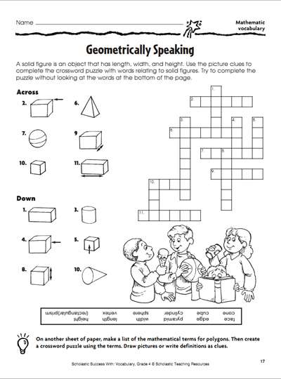 Geometrically Speaking: Crossword Puzzle | Scholastic | Parents
