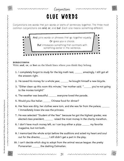 Conjunctions: Glue Words | Worksheets & Printables | Scholastic ...