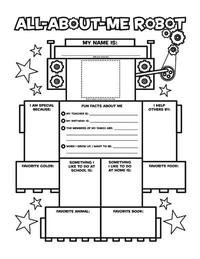 All About Me Robot Fill In Poster Worksheets Printables
