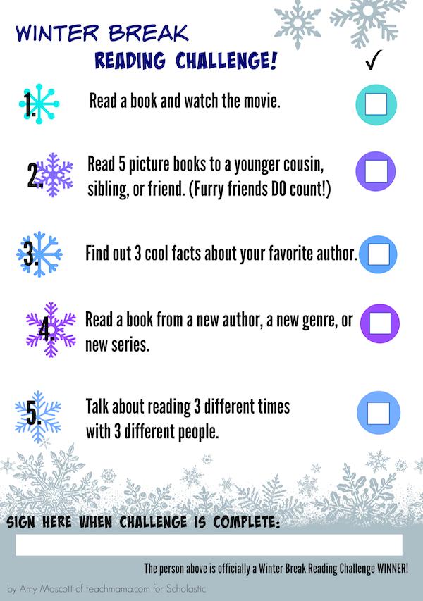 the winter break reading challenge worksheets printables scholastic parents. Black Bedroom Furniture Sets. Home Design Ideas