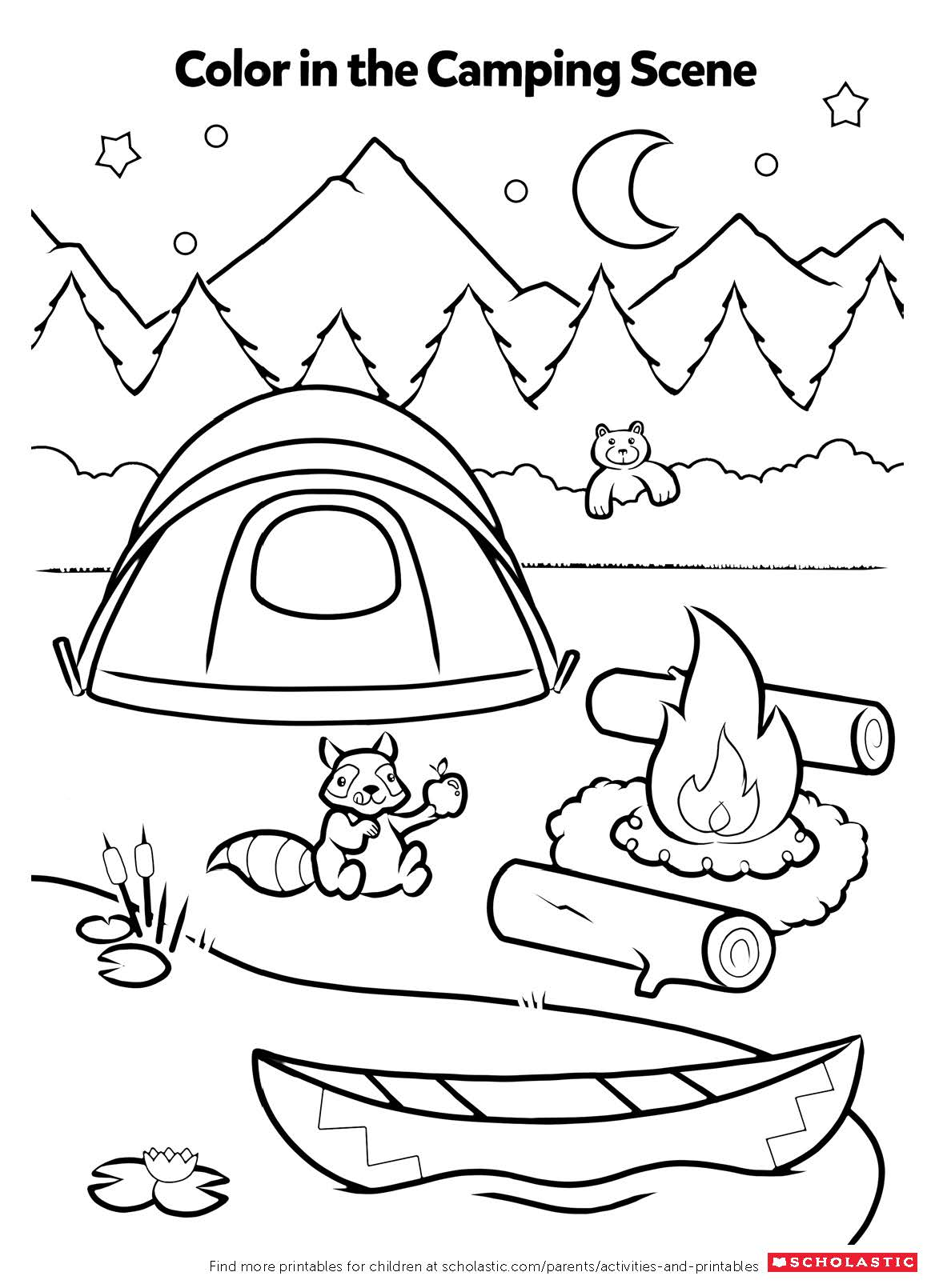 It is a graphic of Handy Coloring Pages Camping Theme