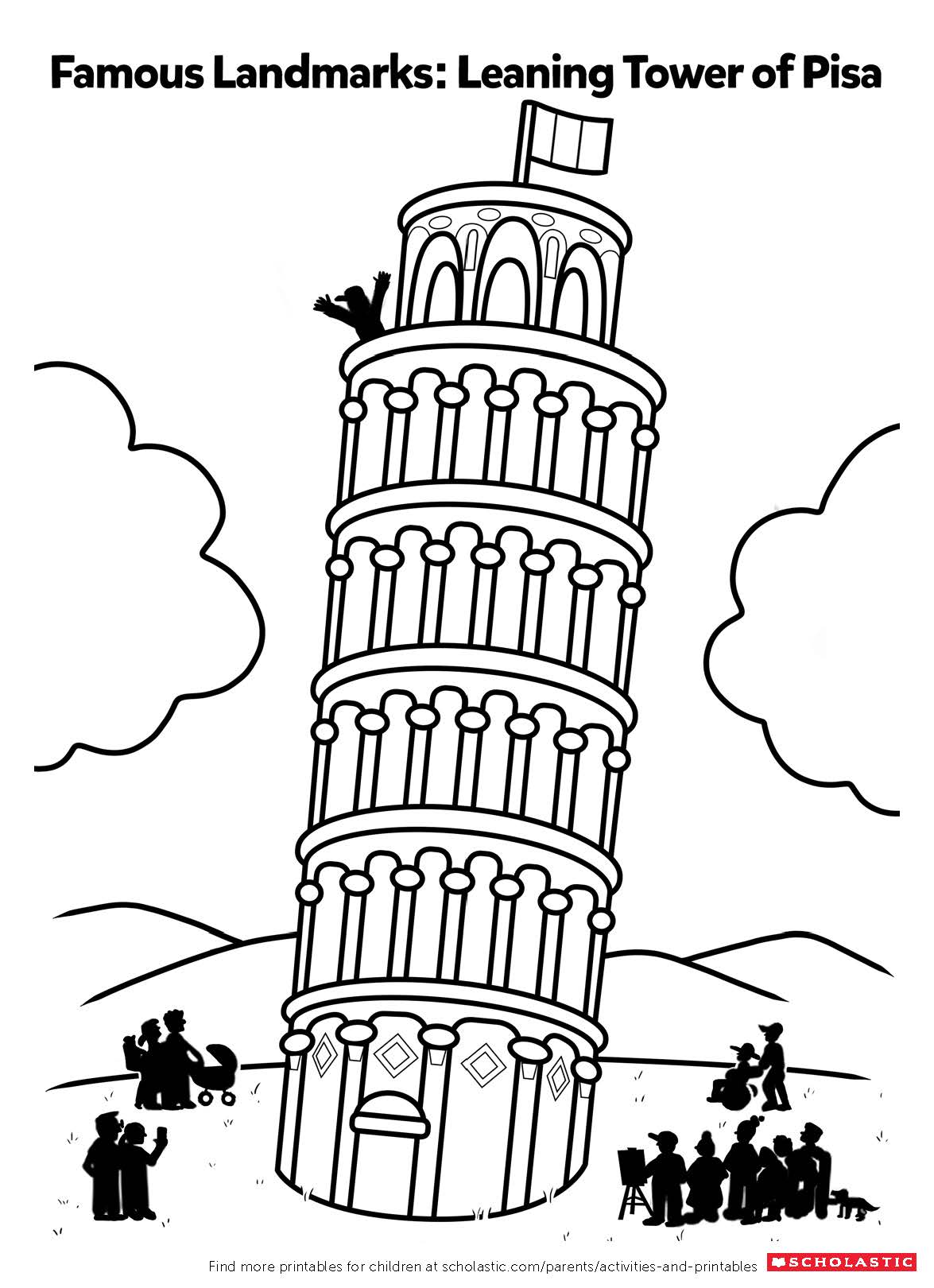 Color In The Leaning Tower Of Pisa Worksheets