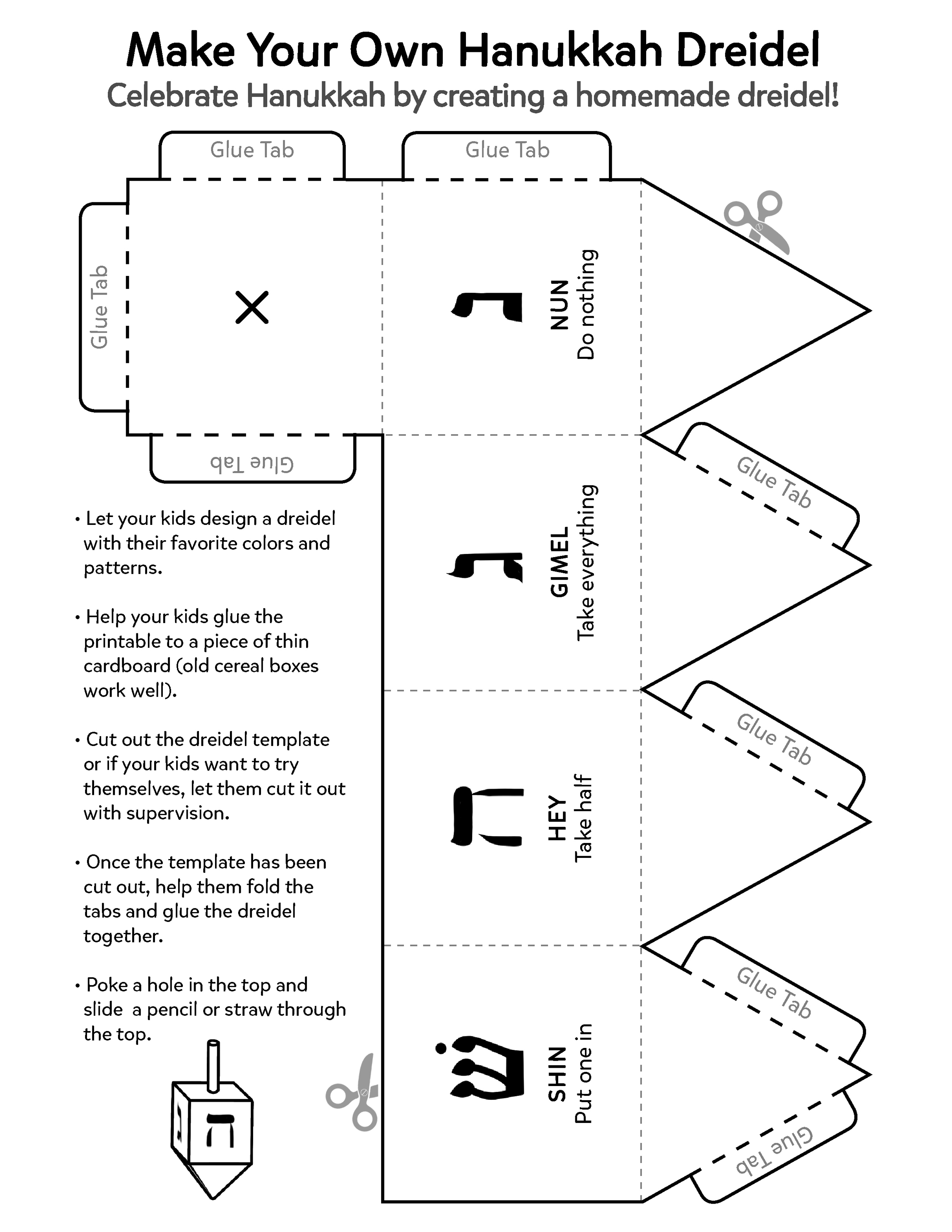 This is an image of Astounding How to Play the Dreidel Game Printable