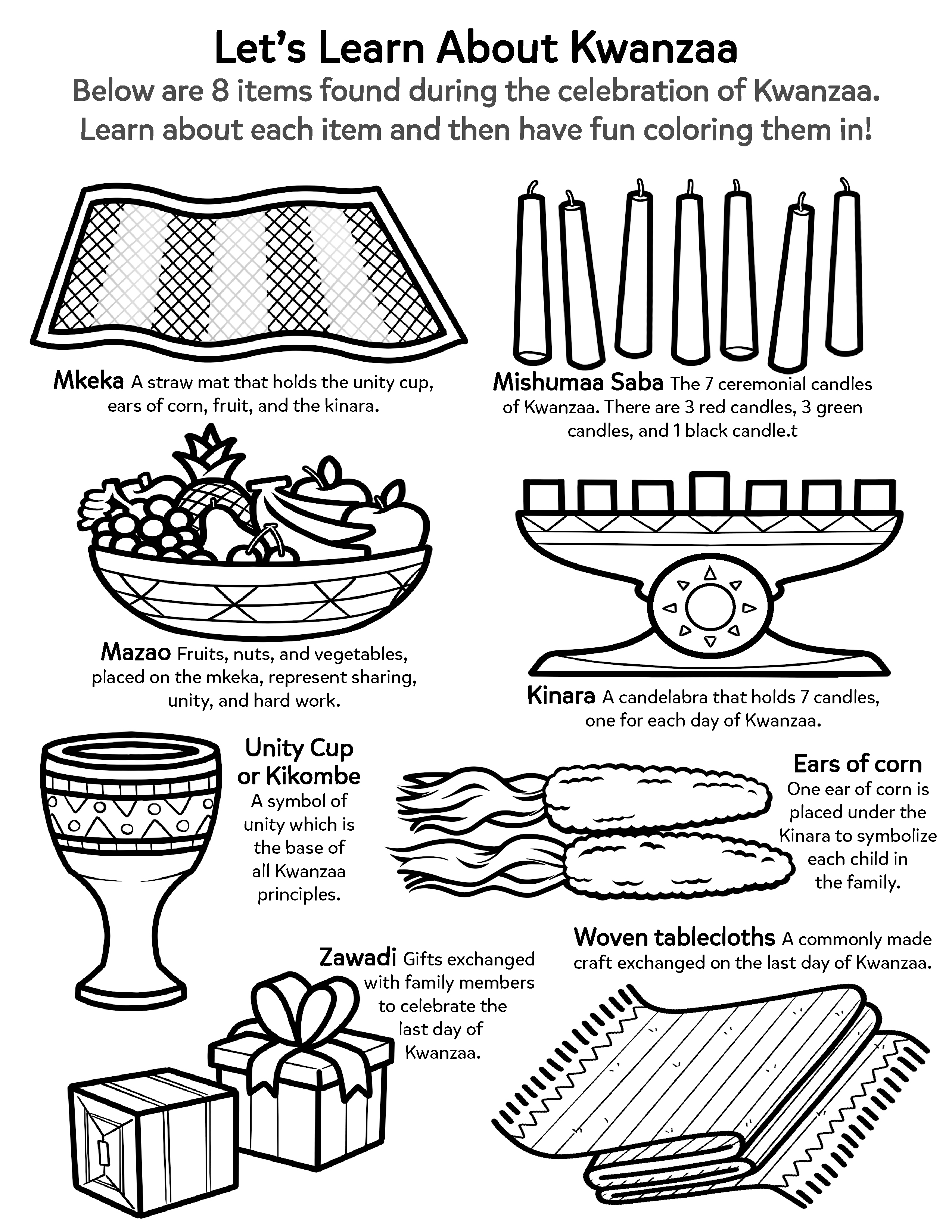 Learn About the Kwanzaa Holiday | Worksheets & Printables ...
