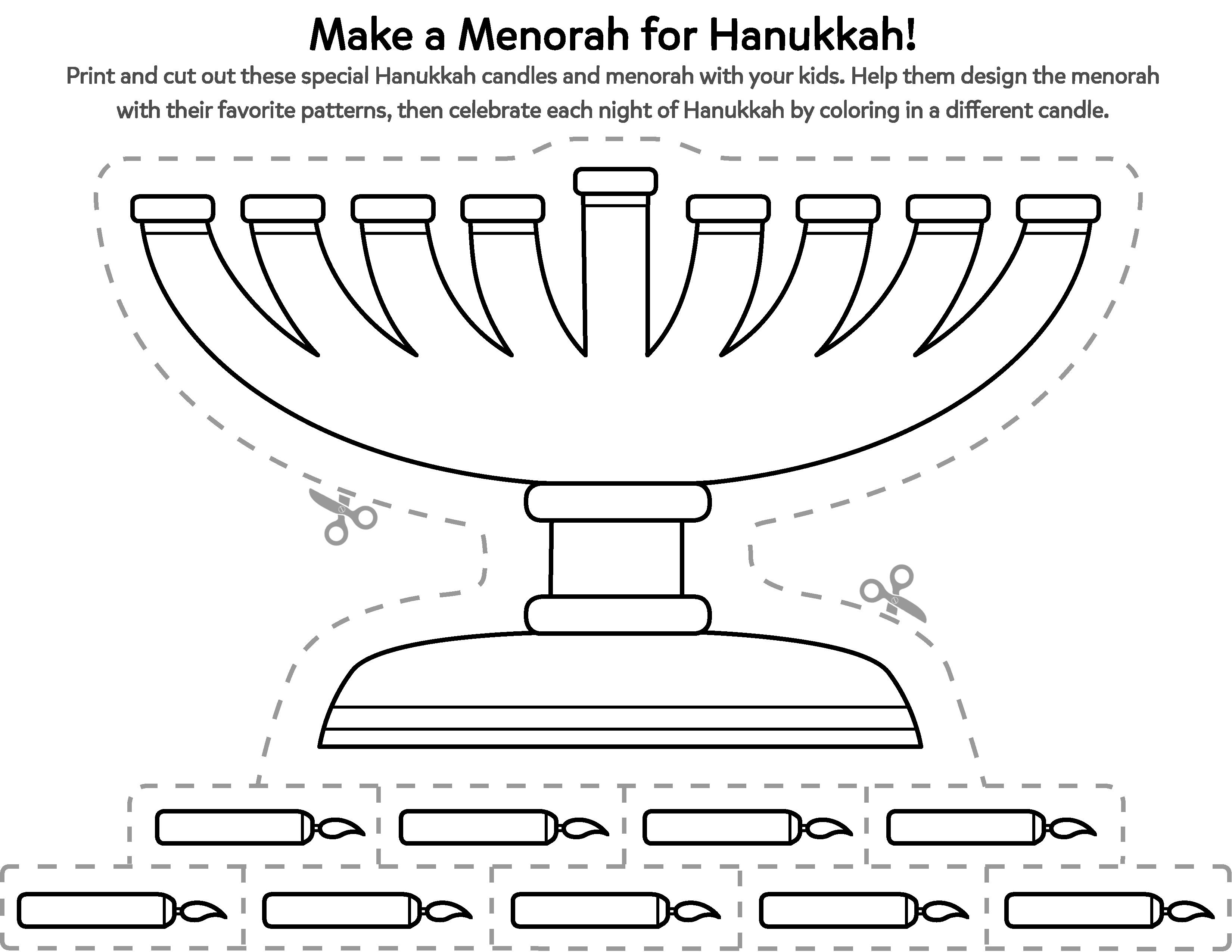 Celebrate Hanukkah With a Cut- Out Menorah Printable ...