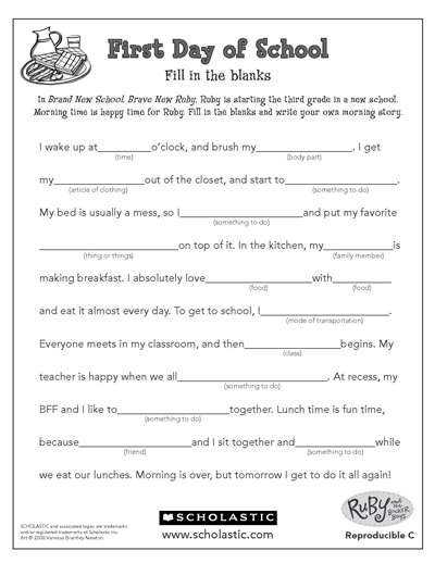 image relating to Funny Fill in the Blank Stories Printable referred to as Complete the Tale Worksheets Printables Scholastic