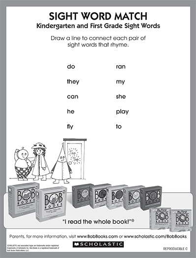 rhyming with sight words from bob books scholastic parents