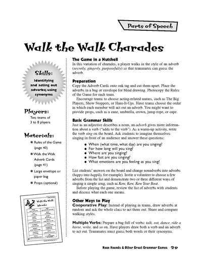 graphic relating to Sentence Building Games Printable known as Wander the Wander Charades Adverb Match Worksheets Printables