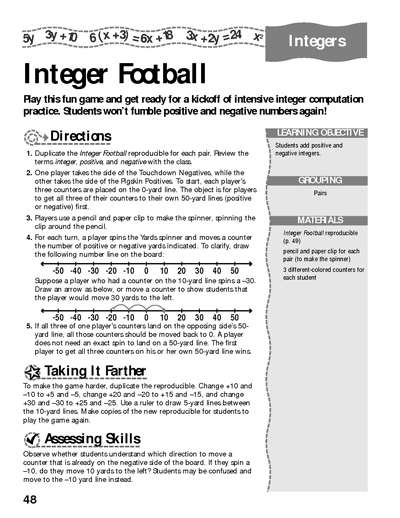 Interger Football | Worksheets & Printables | Scholastic ...