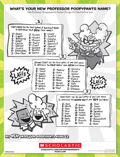 Professor Ypants Name Worksheets Printables Scholastic Pas