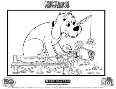 Clifford Fishing Coloring Page Scholastic Parents