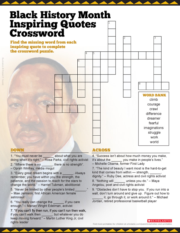 Invaluable image with black history crossword puzzle printable