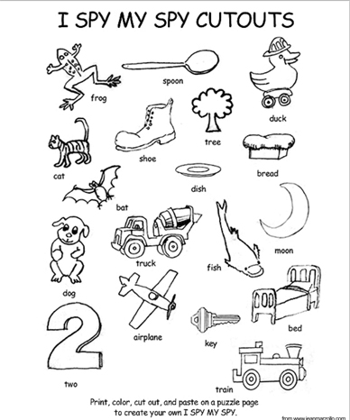 I Spy My Spy Coloring Page and Cutouts | Scholastic | Parents