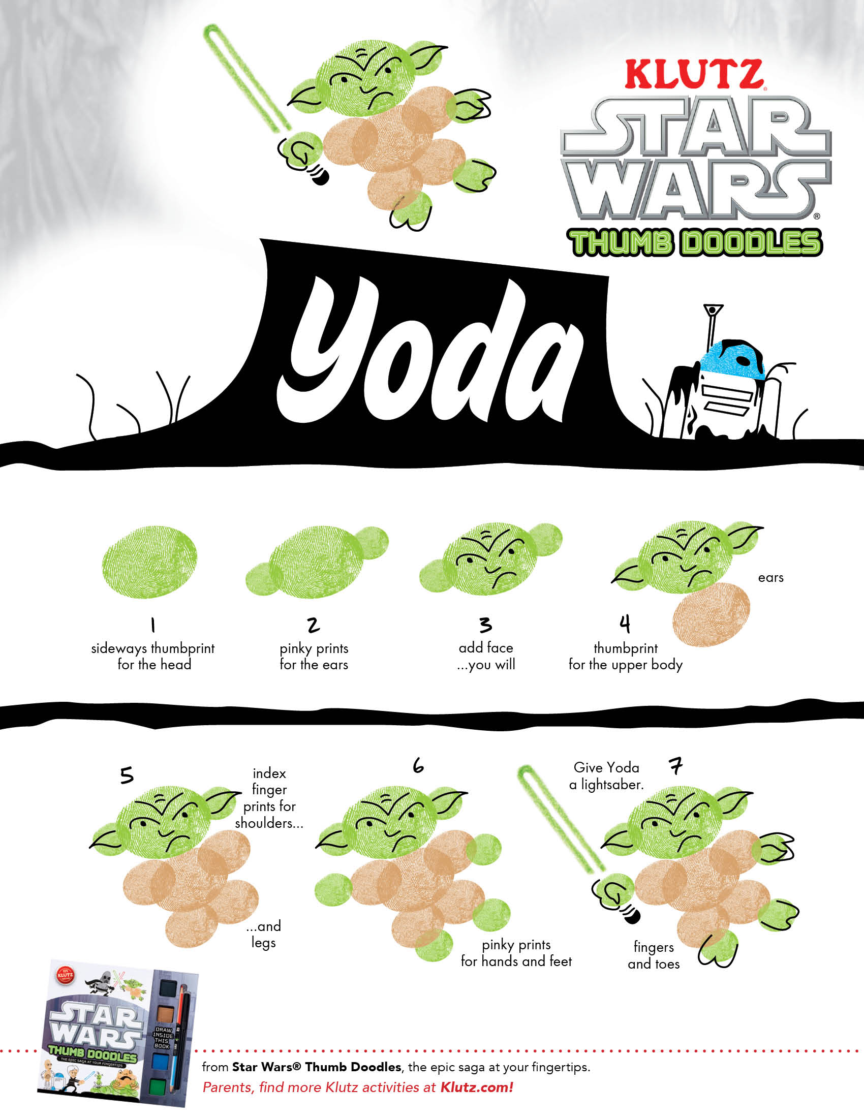 picture regarding Star Wars Printable Activities known as Attract Yoda: Star Wars Thumb Doodles Worksheets Printables