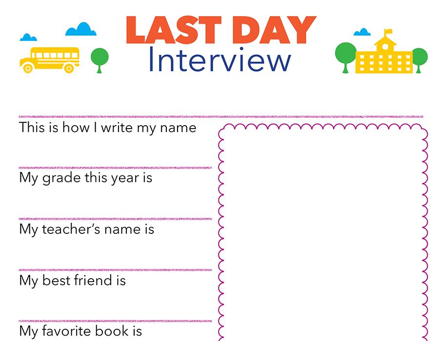 Last Day of School Interview Printable   Scholastic   Parents