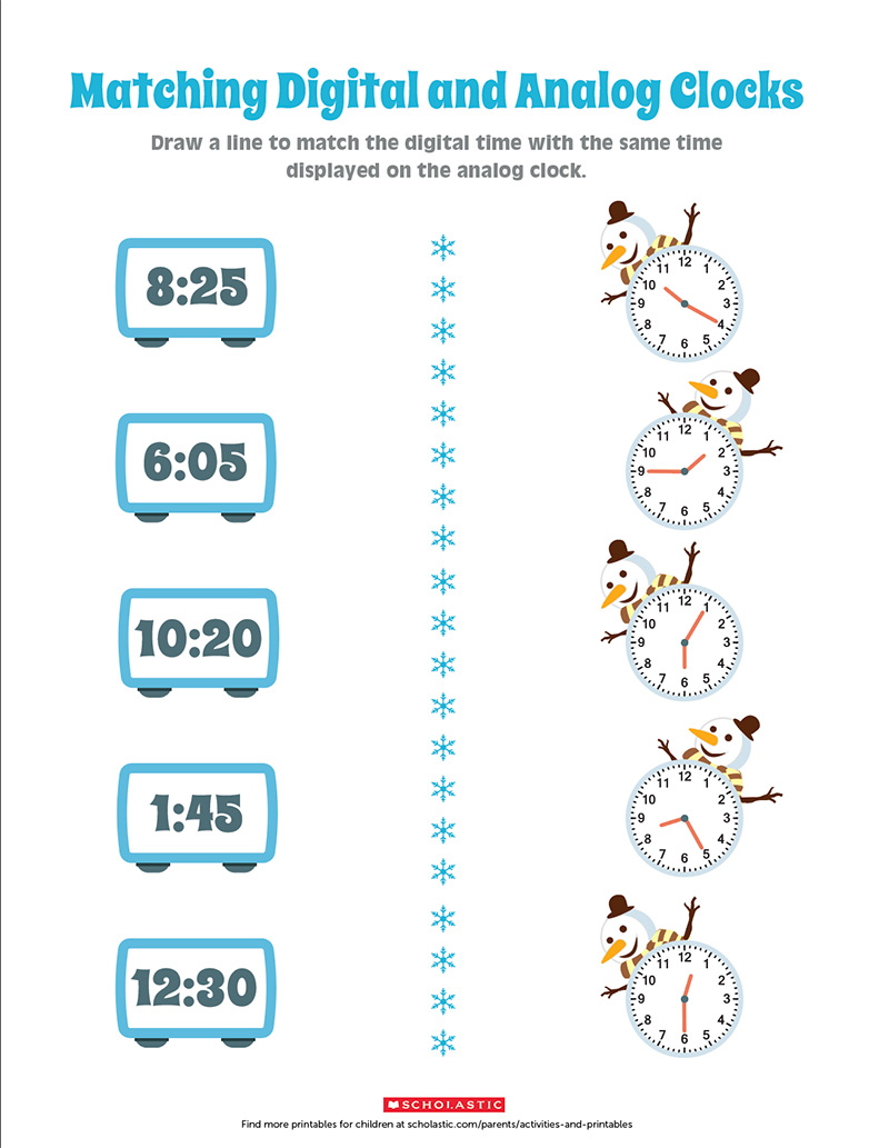 Practice Telling Time by Matching the Clocks   Scholastic ...