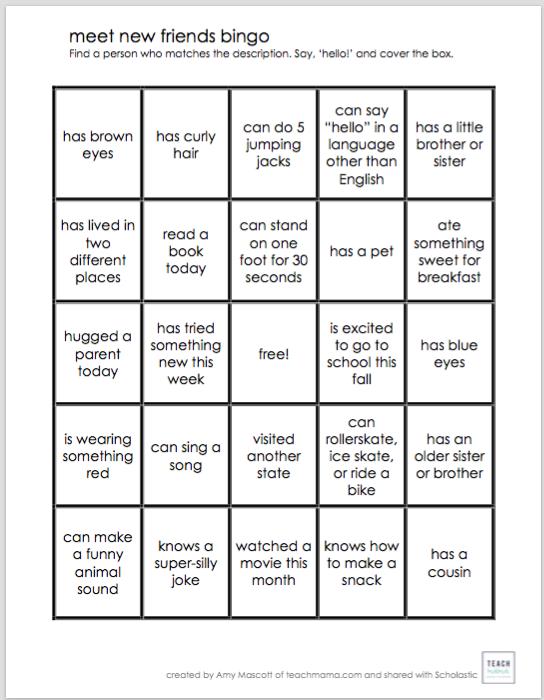 Meet New Friends Bingo | Worksheets & Printables